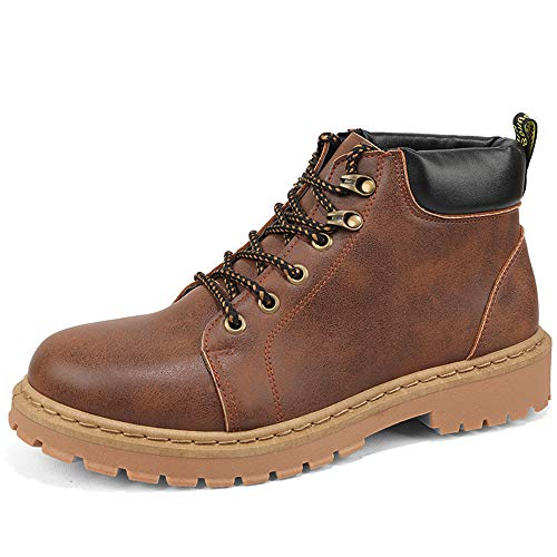 Lace Pac Boot - Autumn Men's Fashion Casual Martin Boots Thick Short Boots Round Head Thick Work Boots(Brown & 38/5.5 D(M))