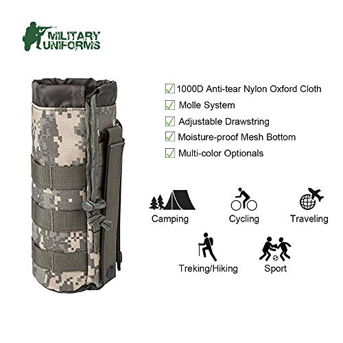 MILITARY UNIFORMS Outdoor Gear Mesh Flask Bag Drawstring Water Bottle Pouch Molle Water Bottle Attachment ACU CP Camouflage Tactical Hiking Camping (ACU)