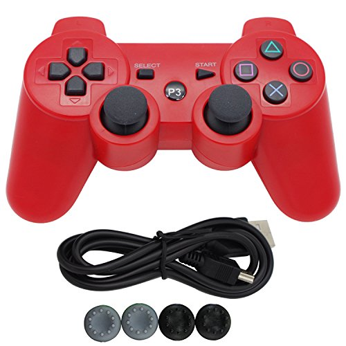 Ps3 Bluetooth Six Axis Wireless Game Controller Gamepad Joypad Handle Hand Shank, Dual Shock Double Vibration with USB Charging Cable ,For Sony Playstation 3 (04 Red)