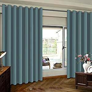 TURQUOIZE Extra Wide Room Divider Grommet Top Curtain panel, Patio Door curtain, Citadel/ Gray Blue, 8.3ft Wide x 7ft Tall (100inch W x 84inch L), sold by panel