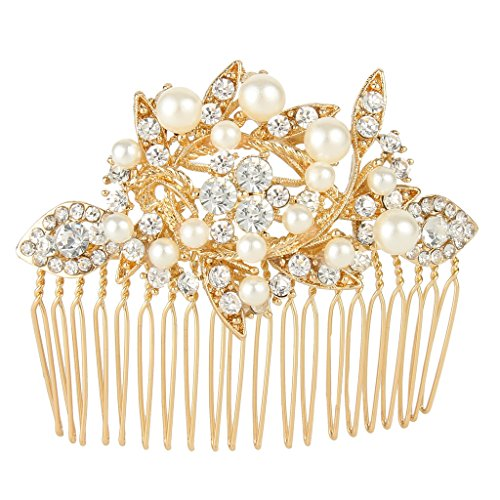 Jeweled Jewelry (EVER FAITH Austrian Crystal Cream Simulated Pearl Bridal Leaf Hair Comb Clear)