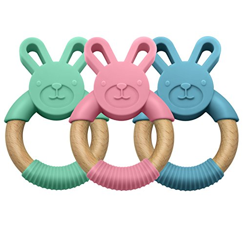 LittleFoot Nation Organic & Natural Bunny Rabbit Baby Teether Ring, 100% BPA Free Pure Food Grade Silicone & Beech Wood, Teething Pain Relief Toy for Toddlers & Infants (Blue)