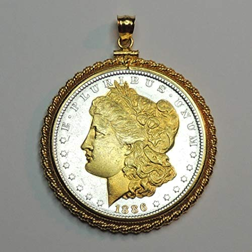 Old 1800's U.S. Silver dollar Gorgeously 2-Toned (Uniquely Hand done) Gold on Silver (with Gold Dates) coin Pendants - Charms Necklaces for women men girls girlfriend boys jewelry making bracelets