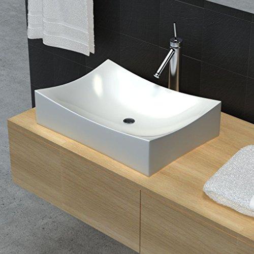 Bathroom Sink Ceramic Porcelain Sink Art Basin White Bathroom Sink Size 25.8'' x 15.4'' x 5.5'' (W x D x H) Wash Basin Practical Vessel for Everyday to Use by Chloe Rossetti