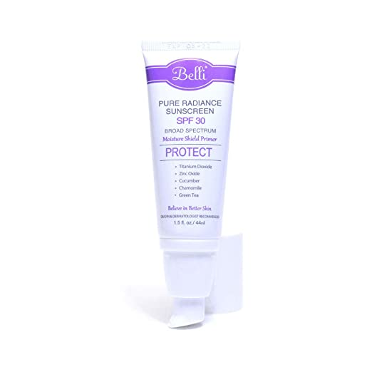 The Belli Pure Radiance Mineral Sunscreen SPF 30 travel product recommended by Deborah Kerner on Pretty Progressive.