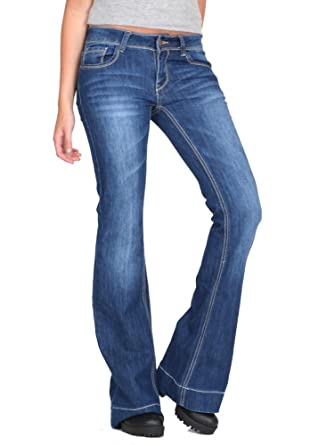 6ebb6154939 Cindy H Low Rise Dark Bootcut Flared Stretch Jeans - Blue (12 ...