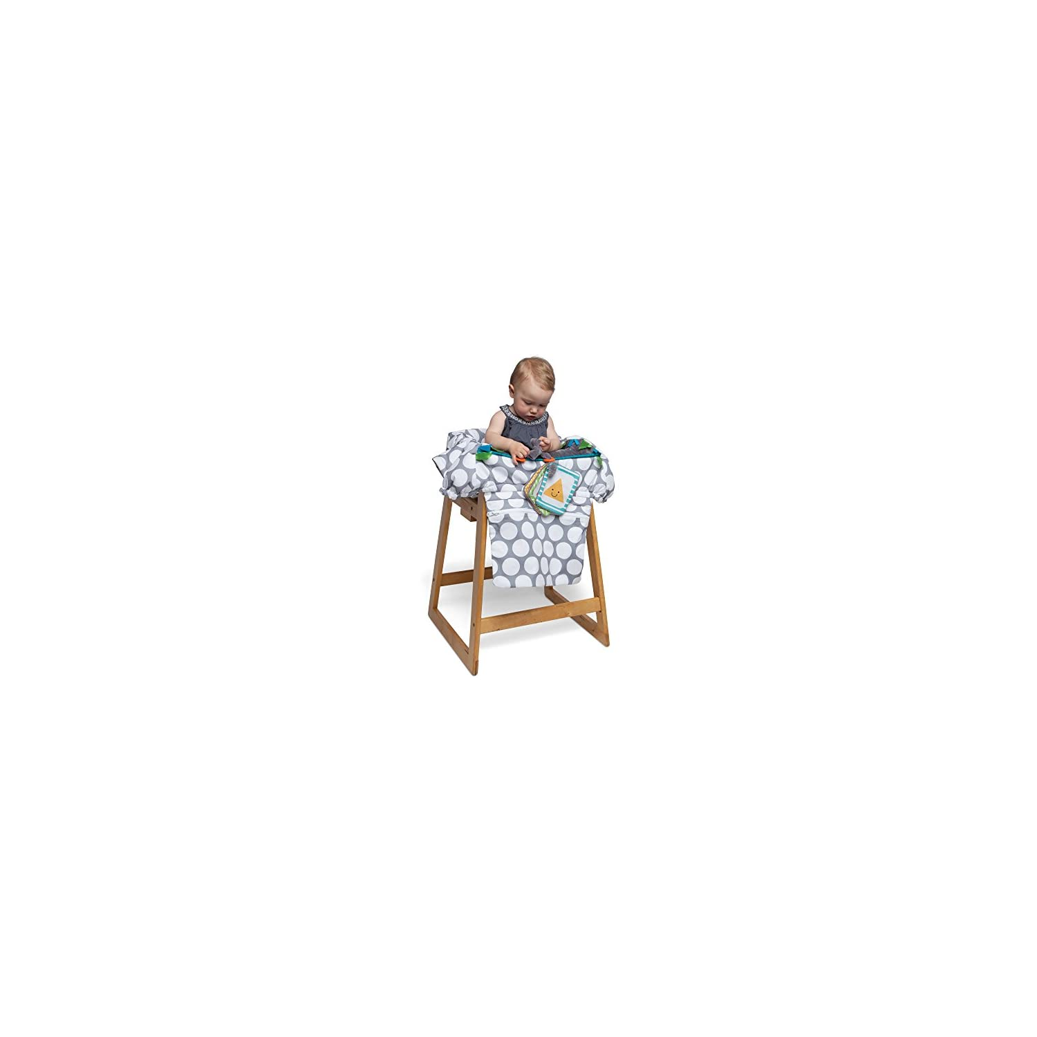 Boppy Preferred Shopping Cart and Restaurant High Chair Cover, Gray Jumbo Dots