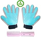 Image of Pet Grooming Glove Kit, Set Of 3, Gift Set, Hair Remover, For Long and Short Hair Grooming of Dogs, Horses, Cats, Bunnies, Left & Right Gloves, By Bemix Pets