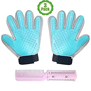 Pet Grooming Glove Kit, Set Of 3, Gift Set, Hair Remover, For Long and Short Hair Grooming of Dogs, Horses, Cats, Bunnies, Left & Right Gloves, By Bemix Pets