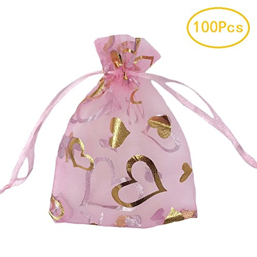 SumDirect 100Pcs 3.5x4.7 inches Sheer Drawstring Heart Organza Jewelry Pouches Wedding Party Christmas Favor Gift Bags (Pink) (Sheer Drawstring)