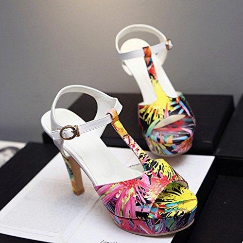 Talons Sandales Peep T De TAOFFEN Elegant Strap Chaussures Toe Floral Femmes Boucle Bloc Noir Hauts Anp0X