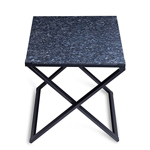 SLEEPLACE SVC22TB01S Granite Top, Blue Pearl & Black Side Table ()