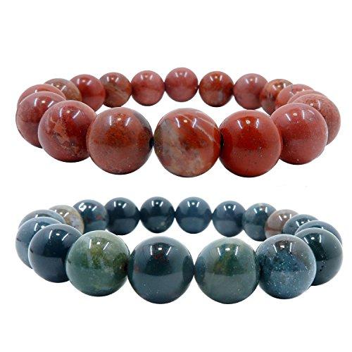 I Dig Crystals Mixed Bracelet Set Boutique Red Jasper & Green Bloodstone Round Handmade Genuine Gemstone Holiday Pair B06 (8.25