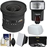 Sigma 10-20mm f/3.5 EX DC HSM Zoom Lens Flash + Soft Box + Bounce Diffuser + 3 Filters Kit Nikon DSLR Cameras