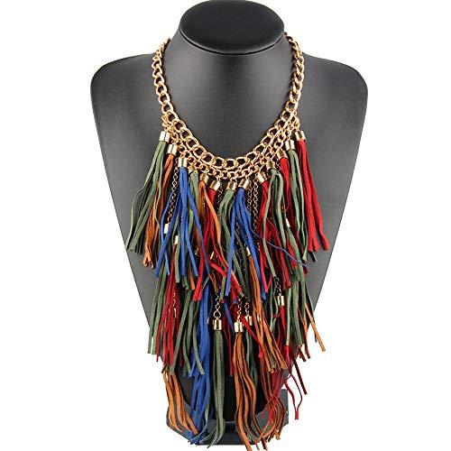 Bewish Women Exaggerated Bohemian Vintage Multilayer Colorful Long Tassel Choker Fringe Statement Bib Collar ()