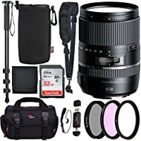 Tamron Macro 16‑300mm f/3.5‑6.3 Di II VC PZD for Canon Cameras, Sandisk Ultra SDHC 32GB, SLR Camera Bag, Camera Shoulder Strap, Protective Lens Pouch, 72 Monopod, Filter Kit Set, and Accessory Bundle