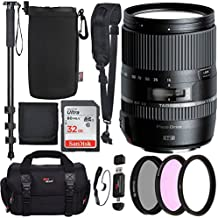 "Tamron Macro 16‑300mm f/3.5‑6.3 Di II VC PZD for Canon Cameras, Sandisk Ultra SDHC 32GB, SLR Camera Bag, Camera Shoulder Strap, Protective Lens Pouch, 72"" Monopod, Filter Kit Set, and Accessory Bundle"