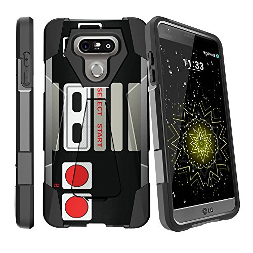 MINITURTLE Case Compatible w/ LG G6 Black Case| LG G6 Hybrid Case [SHOCK FUSION] Dual Layer Stand Case w/ Designs - Retro Controller