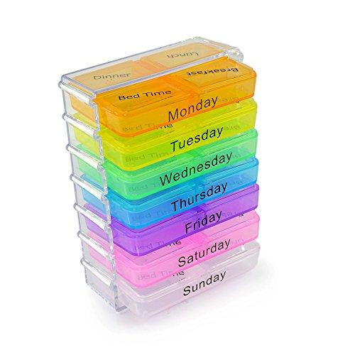 7 Tage Medikamentenbox mit praktischer Schubladenfuntion, Medikamentendosierer, Pillenbox, Tablettendose, Tablettenbox, Morgens und Abends, 28 Fächer, Marke Ganzoo