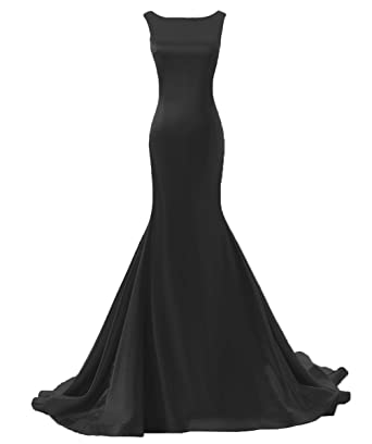 35858e796c2ea DYS Women s Boat Neck Mermaid Prom Dresses Backless Evening Dress with Train  Black ...
