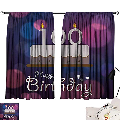 Jinguizi 100th Birthday Curtain Kitchen Window Cartoon Print Cake and Candles on Abstract Backdrop Image Artwork Print Image Darkening Curtains Purple and Pink W55 x L39 by Jinguizi (Image #6)