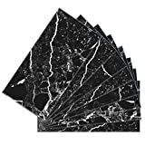 SkinnyTile 4406 Peel and Stick Marble Shades Glass Wall Tile (48 Pack) 6'' x 3'' Black