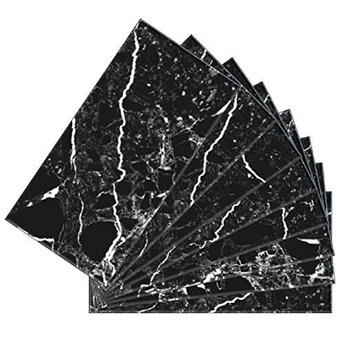 Shade Glass Marble (SkinnyTile 04406 Peel and Stick Black Marble Shades Glass Wall Tile (48-Pack), 6