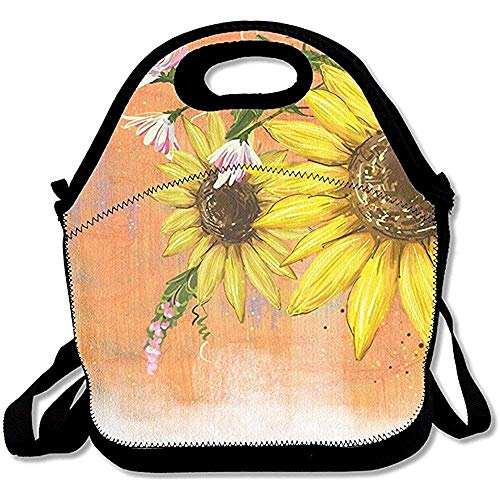 - Jubenlcai Sunflower Oil Painting Simple Outdoor Lunch Bag Lunch Box Thermal Insulated Tote Cooler Lunch Pouch Picnic Bag Lunch Tote School Work Office,Gift Women