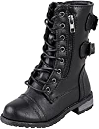 Link Girls Mango 61K Lace Up Boots | Combat Boots for Girls | Zipper Boots | Toddler Girl Shoes | Little Girl...