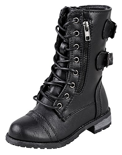 Forever Link Girls Mango 61K Lace Up Boots | Combat Boots For Girls | Zipper Boots | Toddler Girl Shoes | Little Girl Shoes | Black 1