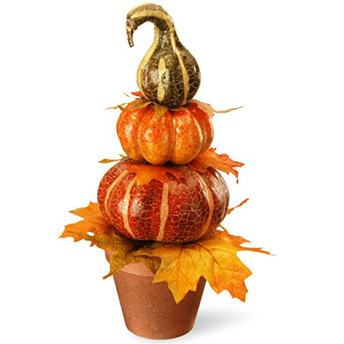 (National Tree 18 Inch Tower Pumpkin Décor with Glittery Maple Leaves and Earthen Pot (RAHV-D060743A))