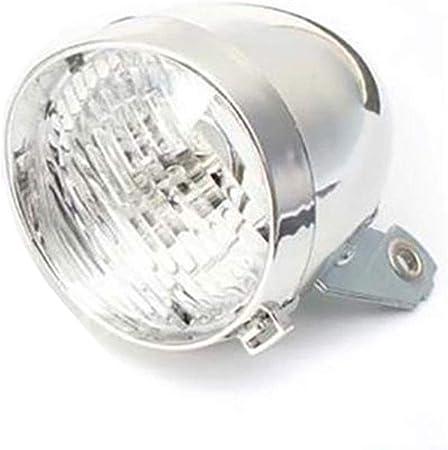 Faro delantero clásico para bicicleta con 3 luces LED plata: Amazon.es: Hogar