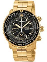 Seiko Mens SNA414 Flight Alarm Chronograph Watch
