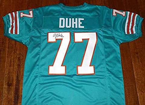 AJ A.J. DUNE #77 Signed MIAMI DOLPHINS Throwback Jersey / LSU, Killer B's - Autographed NFL Jerseys - Miami Dolphins Throwback Jersey