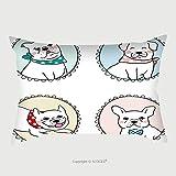 Custom Satin Pillowcase Protector Vector Illustration Draw Character Set Vintage Frame Of Pug Dog Bulldog Doodle Cartoon Style 525230893 Pillow Case Covers Decorative