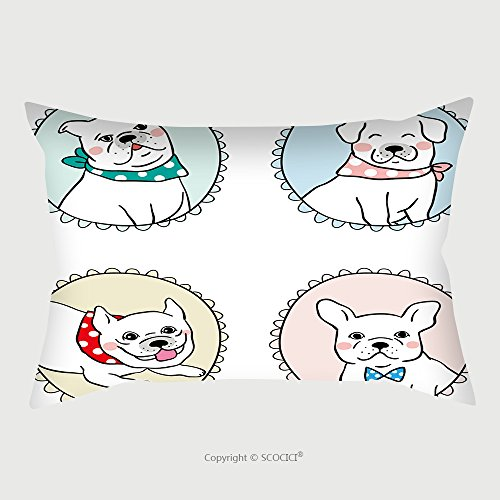 Custom Satin Pillowcase Protector Vector Illustration Draw Character Set Vintage Frame Of Pug Dog Bulldog Doodle Cartoon Style 525230893 Pillow Case Covers Decorative by chaoran