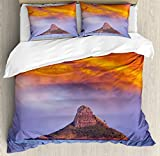 Hawaiian Duvet Cover Set King Size by Ambesonne, Hawaii Deserted Island Ocean with Mountain Trees Cloudy Photography Print, Decorative 3 Piece Bedding Set with 2 Pillow Shams, Marigold Lavander