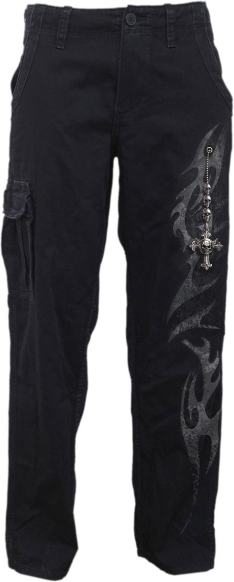 Spiral - Mens - Tribal Chain - Vintage Cargo Trousers Black - L