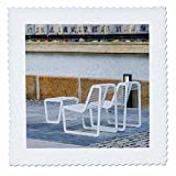 3dRose Alexis Photography - Objects - Metal furniture on the stone embankment. Color photo - 18x18 inch quilt square (qs_270278_7)