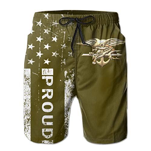 US Navy Seals Emblem Men's Swim Trunks Beach Short Board Shorts White