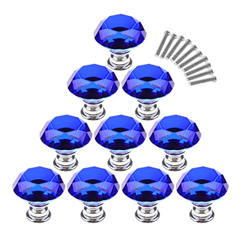 Cabinet Knobs,YIFAN 10Pcs 30mm Crystal Glass Diamond Shape Cabinet Knobs Cupboard Drawer Pull Handles - Dark Blue