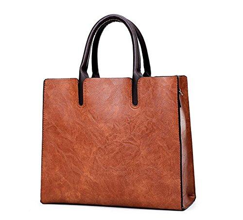 Nuevo Bolsos Los La Shopping De De Meaeo Moda Cuero Cera Negro Bolsos Bag Bolso Brown Y IvpqWWRwxU