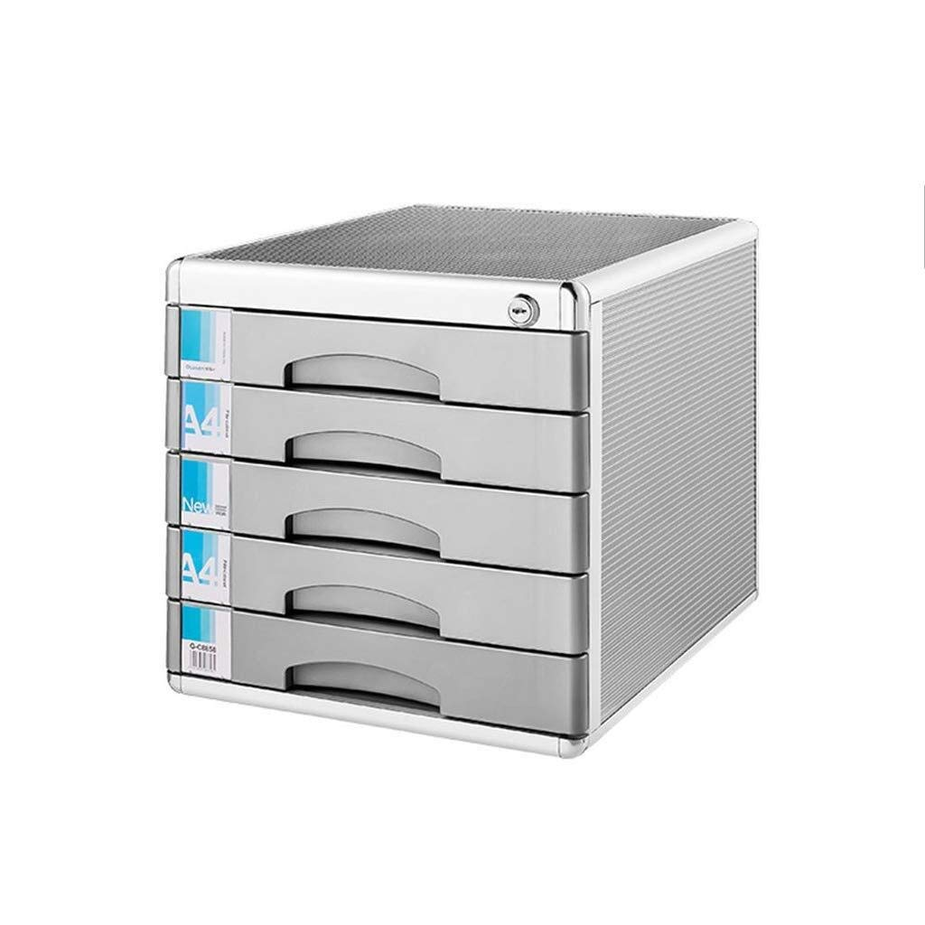 Filing Cabinet Desktop File Cabinet Lockable Aluminum Alloy Data Office Storage Drawer Confidentiality with Lock Office Desktop Drawer Organizer (Size : 5 Layers) by SZHXH