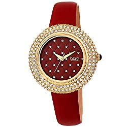 Swarovski Crystals Bezel with Satin Leather Strap Watch