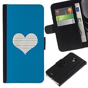 UberTech / Samsung Galaxy S4 Mini i9190 MINI VERSION! / Blue Heart Love Notebook White / Cuero PU Delgado caso Billetera cubierta Shell Armor Funda Case Cover Wallet Credit Card