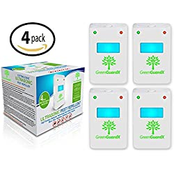 GreenGuardX Ultrasonic Pest Control Repeller (4-Pack)–Indoor Repellant for Mice, Mosquitos, Roaches, Spiders, Insects, & Rodents – Ecofriendly Bug Repeller–Children & Pet Safe, Non-Toxic (Upgraded)