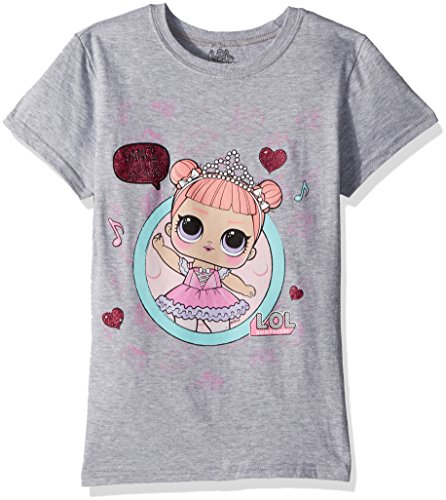 L.O.L. Surprise! Girls' Big' Dance Club Center Stage Short Sleeve T-Shirt, Heather Grey, M-8/10