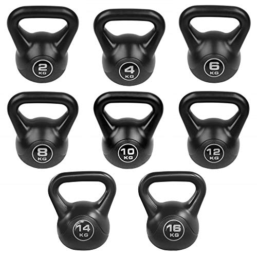 JLL Black Vinyl Kettlebells 2kg-16kg, Home Gym, Training, Weight, Fitness, Available in sets