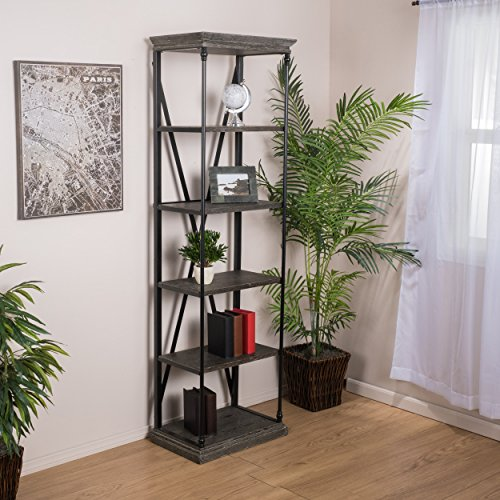 Brennon 5-Shelf Industrial Dark Tan Grey Wood Bookshelf (Brennon)