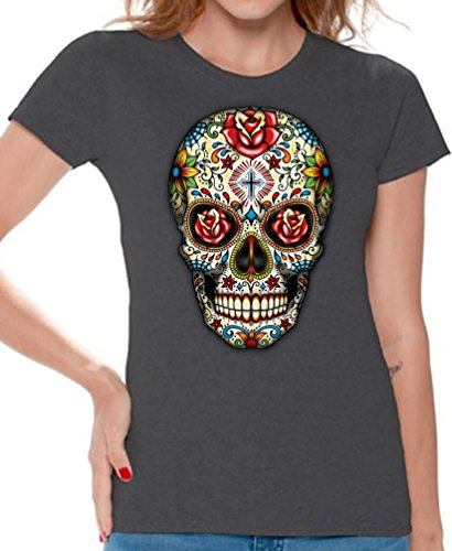 Tee Womens Skull (Awkward Styles Awkwardstyles Women's Rose Eyes Skull T-Shirt Sugar Skull Dead Shirt + Bookmark XL Charcoal)